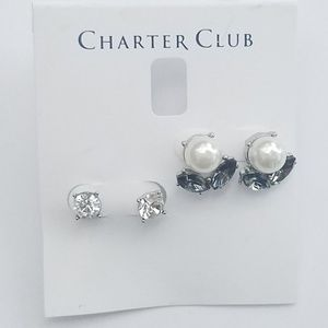 CHARTER CLUB DUO RHINESTONES AND PEARL  EARRINGS
